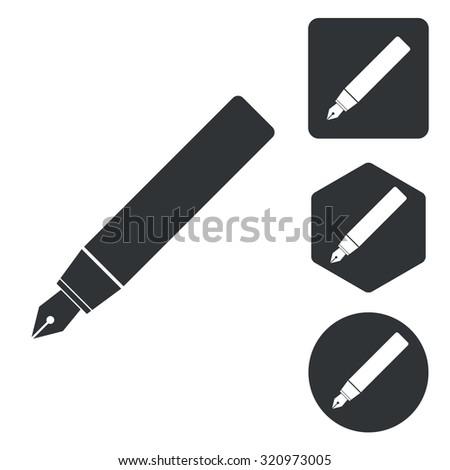 Fountain pen icon set, monochrome, isolated on white - stock photo