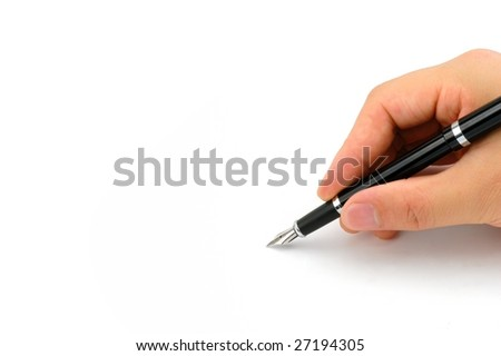 Fountain pen in hand isolated on white background - stock photo