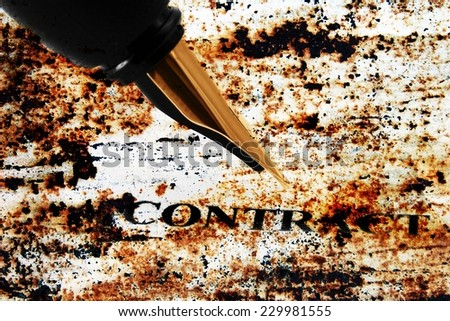Fountain pen on contract - stock photo
