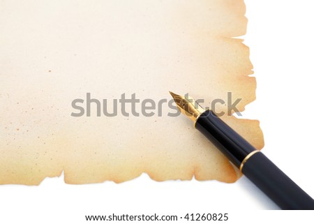 fountain pen on decorative paper with ragged edges - stock photo