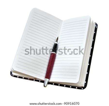 fountain pen on opened diary isolated on white - stock photo