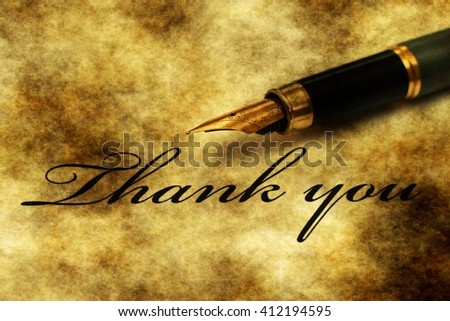Fountain pen on thank you letter - stock photo