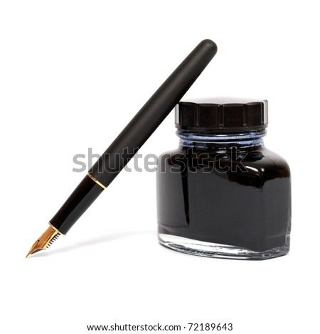 fountain pen with the ink bottle - stock photo