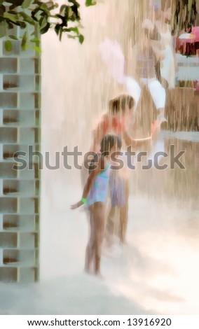 Fountain Play - stock photo