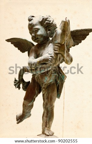 """Fountain """"Putto with Dolphin""""  in  the courtyard from Palazzo Vechio (Florence, Italy). - stock photo"""