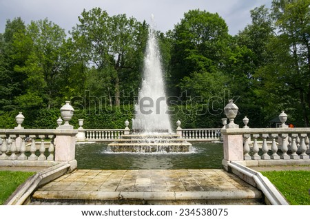 Fountain Pyramid in the Lower Park, Peterhof, Russia - stock photo