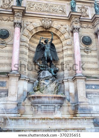 Fountain Saint Michel at Place Saint-Michel in Paris, was constructed in 1858-1860 by architect Gabriel Davioud. - stock photo