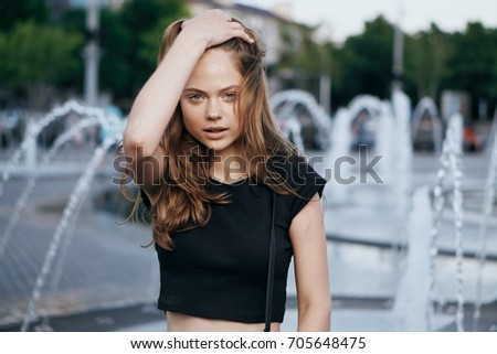 Fountain, square, beautiful woman