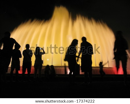 Fountain: water and night lights. Montjuic, Barcelona