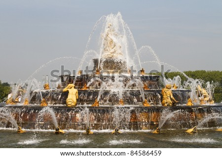 Fountain water jets in Versailles Palace (France)