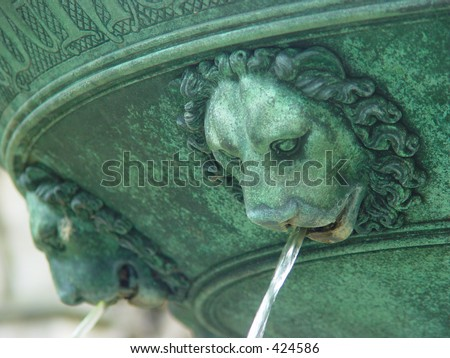 Fountain with lions in Utrecht, the Netherlands - stock photo
