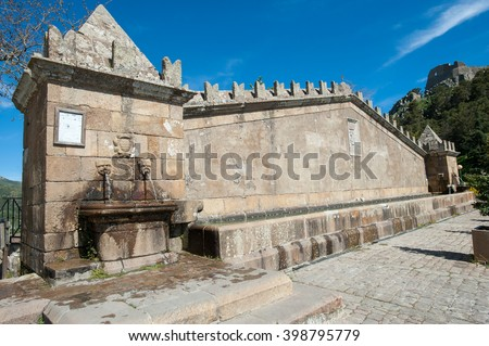 Fountain with sculpture on the wall, typical of the Sicilian countryside, Geraci Siculo, Palermo, Sicily, Italy, Europe - stock photo