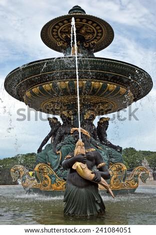 Fountaine des Mers, Place de la Concorde, Paris, France. - stock photo