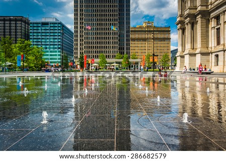 Fountains and buildings at Dilworth Park, in Philadelphia, Pennsylvania.