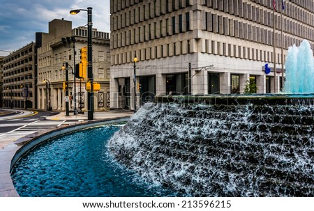 Fountains and buildings at Woodruff Park in downtown Atlanta, Georgia. - stock photo
