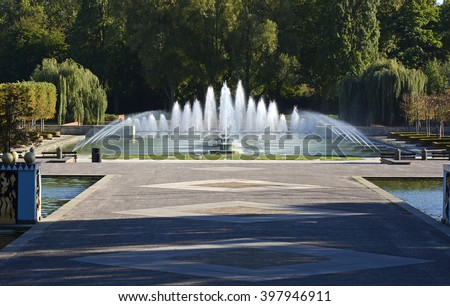 Fountains and pond in Battersea Park, London, England