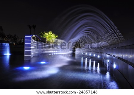 Fountains at night - stock photo
