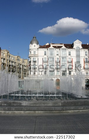 Fountains at Plaza Zorrilla near the Campo Grande in Valladolid, Spain