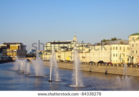 fountains in channel at Moscow center