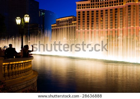 Fountains in Las Vegas at night - stock photo