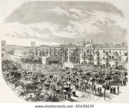 Fountains inauguration in Alexandria, Egypt. Created by Godefroy-Durand after photo of Driegen, published on L'Illustration, Journal Universel, Paris, 1860 - stock photo