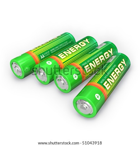 Four AA batteries - stock photo