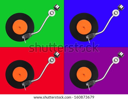 Four abstract record players on colorful backgrounds. May be used separately - stock photo