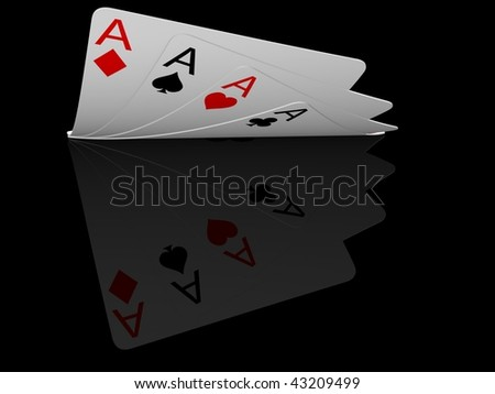 four ace cards isolated on black