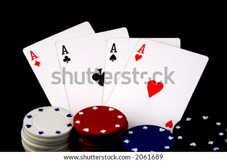 four aces and poker chips - stock photo