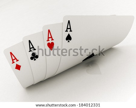 four aces cards on a white background - stock photo