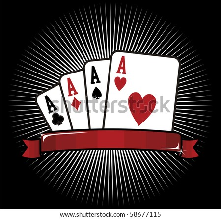 Four aces. Casino Poker Cards on black background. - stock photo