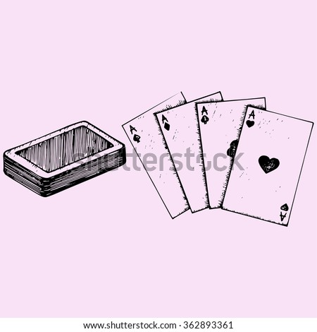 Four aces, deck of poker, playing cards, doodle style, sketch illustration, hand drawn, raster - stock photo