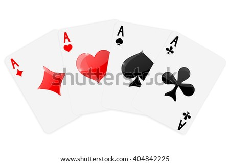 Four aces.   Four cards suits -  diamonds, clubs, spades, hearts.    illustration isolated on white background. Raster version - stock photo