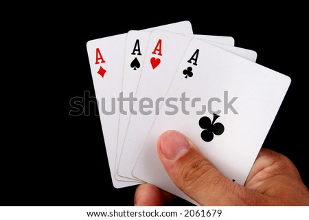 four aces hand of paoker - stock photo