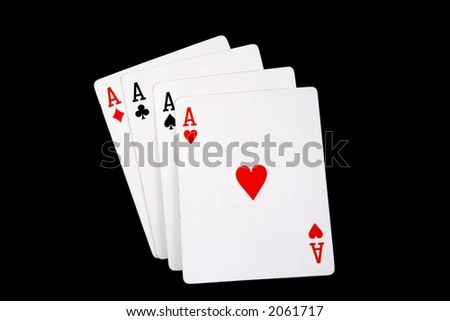 four aces hand on black background - stock photo