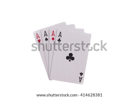 Four aces - heart, spade, diamond and club isolated on white background - stock photo