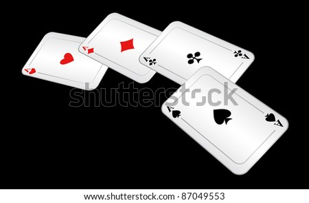 Four aces lie on a black background. EPS version is available as ID 84311545. - stock photo