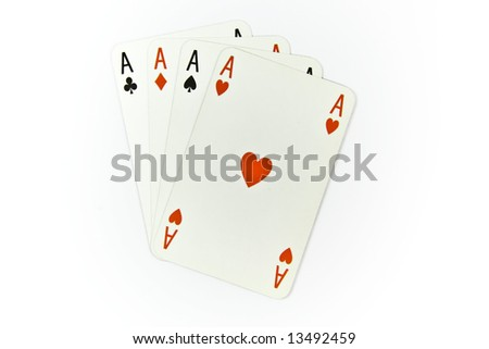 Four aces of cards isolated on white background - stock photo