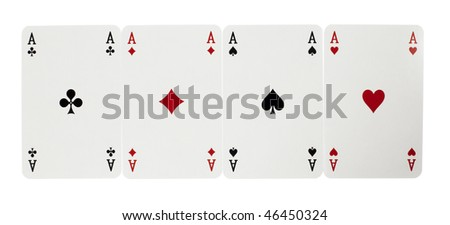 four aces of playing cards on white background - stock photo