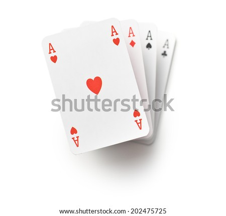 four aces on white background - stock photo