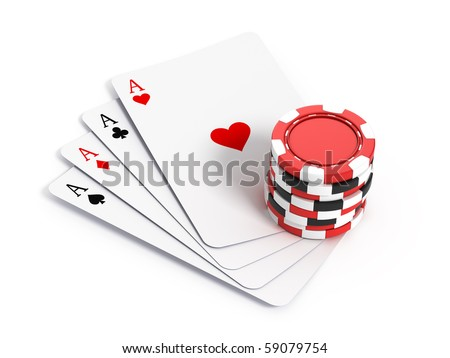 Four aces playing cards and gambling chips - stock photo