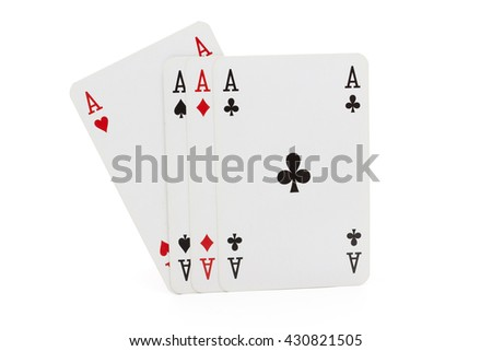 Four Aces Playing cards isolated on white background - stock photo