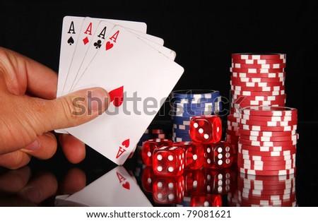 Four aces triumph - stock photo