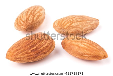 four almond isolated on white background close-up macro