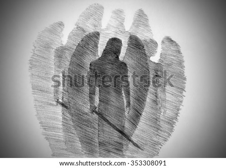 four angels with a sword - stock photo
