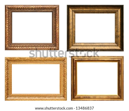 Four antique picture frames. High resolution. - stock photo