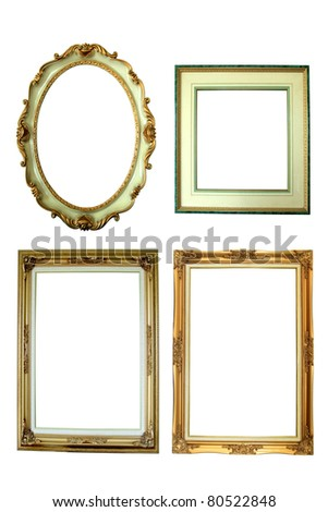 Four antique picture frames isolated on white