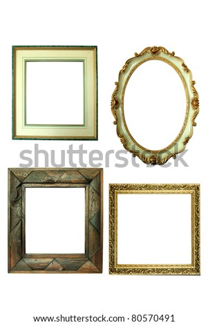 Four antique picture frames isolated on white - stock photo