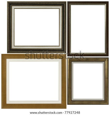 Four antique picture frames isolated on white background. - stock photo