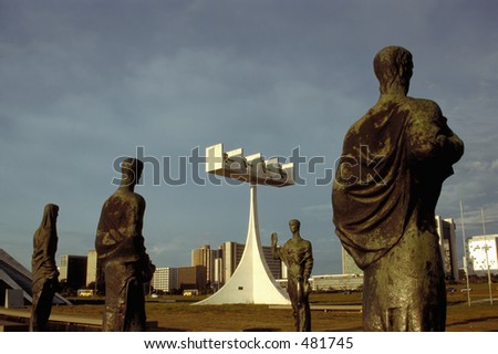 Four Apostles in front of the modern Cathedral  - Brasilia, Brazil - stock photo